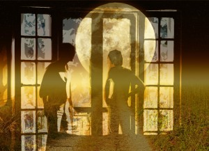 bigstock men at french door overlay-Full-moon-and-starry-sky-50689601