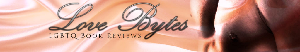 love bytes reviews top banner cover - a man's chest over peach colored sheets - text reads Love Bytes LGBTQ Book Reviews