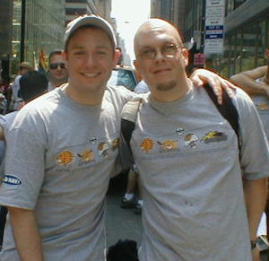 Will & I at the 2002 Pride March in NYC. The first pride we marched in.